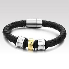 2014 New Braided Leather Clasp Stainless Steel Bracelets for Men and Women Boys Bracelets, Fashion Bracelets, Bangle Bracelets, Bangles, Fashion Jewelry, Men's Fashion, Simple Bracelets, Men's Jewelry, Fashion Trends