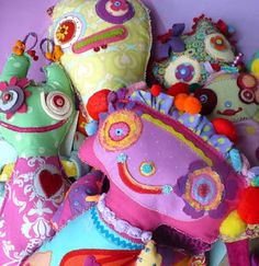 Crazy colorful soft sculpture dolls by Elena Fiore.