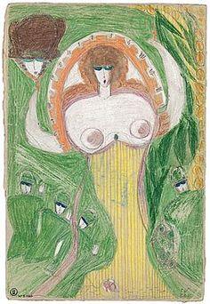 Aloïse, Femme portant une tête à la main - SIKART Dictionnaire et base données