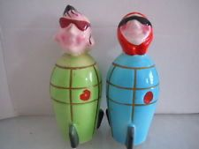 Anthropomorphic SPACE ROCKET HEADS Salt & Pepper Shakers Hand Painted 4-1/2