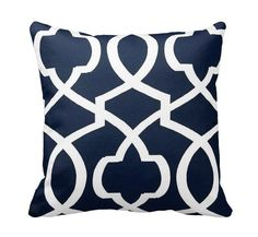Navy Blue Morrow Zippered Throw Pillow by PrimalVogueHomeDecor