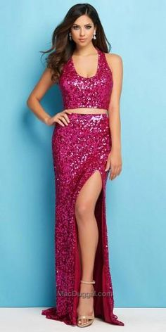 Sequined A Line Two Piece Prom Dress by Mac Duggal #edressme