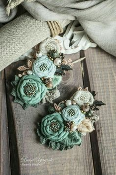 Denim Flowers, Burlap Flowers, Lace Flowers, Fabric Flowers, Fabric Flower Necklace, Fabric Flower Brooch, Textile Jewelry, Fabric Jewelry, Silk Ribbon Embroidery
