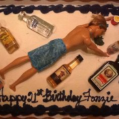 My sons funny 21st birthday cake! Bought the cake at SAMs Club and decorated it myself!