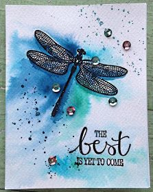 Well, after the black embossing was on there. Well, after the black embossing was on there. If you've never worked with water color paper, you need to try it! Dragonfly Quotes, Dragonfly Art, Dragonfly Necklace, Dragonfly Tatoos, Retirement Cards, Retirement Celebration, Bee Cards, Butterfly Cards, Monarch Butterfly