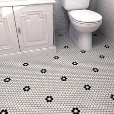 SomerTile 10.25x11.75-inch Metro Hex Matte White/ Black Flower Porcelain Mosaic Floor and Wall Tile
