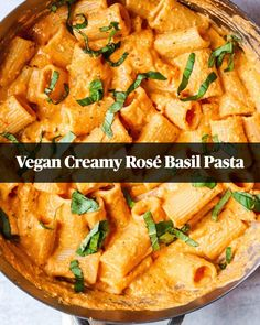Vegan Creamy Rosé Basil Pasta is a delicate blend of basil, tomatoes, and of course, rosé wine. The perfect pasta dish for a special weekend meal. Pasta Recipes, Gourmet Recipes, Vegetarian Recipes, Dinner Recipes, Cooking Recipes, Healthy Recipes, Healthy Dishes, Healthy Meals, Salad Recipes