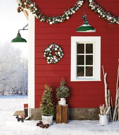 red exterior + Christmas décor