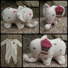 Take an old baby sleeper onesie and make it into a cute stuffed animal keepsake . Take an old baby sleeper onesie and make it into a cute stuffed animal keepsake Sewing Stuffed Animals, Cute Stuffed Animals, Memory Crafts, Baby Crafts, Sewing Crafts, Sewing Projects, Sewing Diy, Sock Animals, Clay Animals