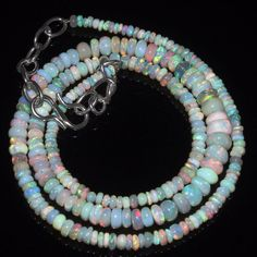 """30 Tcw 2 to 6 mm 16"""" Natural Ethiopian Welo Fire Opal Necklace ---147"""