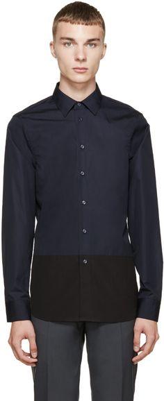 MARNI Navy & Black Poplin Colorblocked Shirt. #marni #cloth #shirt