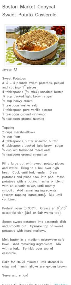 Boston market copycat.. Sweet Potato casserole