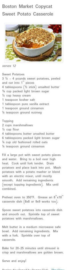 Boston market copycat.. Sweet Potato casserole