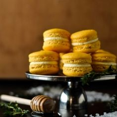 Anything but./-/ Lemon macarons with salted honey and thyme buttercream.