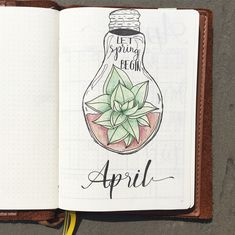 Bullet journal monthly cover page, April cover page, hand lettering, plant drawing.   @lifeincolor_bujo