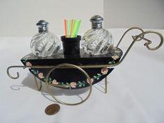 Vintage Decorative Metal Flower Cart With Glass Salt & Pepper Shakers