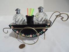 Vintage Decorative Metal Flower Cart With Glass Salt & Pepper Shakers