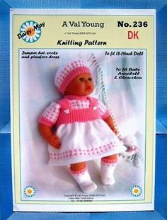 """DOLLS KNITTING PATTERN no 311 for //ANNABELL 18/""""//19/"""" doll by Daisy-May."""