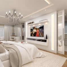 Master Bedroom Ideas 46 Cool Bedroom Tv Wall Design Ideas - Beds, Beds And Beds! Home Decor Bedroom, Modern Bedroom, Home Bedroom, Bedroom Interior, Luxurious Bedrooms, Tv In Bedroom, Master Bedrooms Decor, Awesome Bedrooms, Bedroom Tv Wall