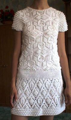crochelinhasagulhas: Vestido branco de crochet