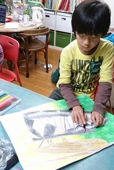 キアゲハの羽化をめいっぱい、大きな絵に仕