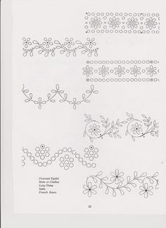 83 Boarder Designs, Border Embroidery Designs, Floral Embroidery Patterns, Silk Ribbon Embroidery, Diy Embroidery, Vintage Embroidery, Embroidery Stitches, Graph Paper Art, Heirloom Sewing