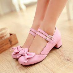 H Plus Sz Low Heels T Strap Bow Pink Block Heel Oxfords Shoes Sweet Twin Ankles | eBay