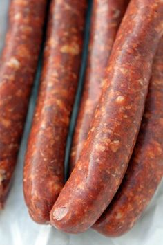 MERGUEZ SAUSAGE ~~~ three lamb and one beef version shared. recipe gateway: this… Homemade Sausage Recipes, Lamb Recipes, Meat Recipes, Cooking Recipes, Jerky Recipes, Bratwurst, Charcuterie, Merguez Sausage Recipe, Spicy Sausage