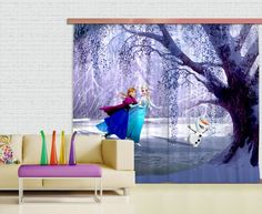 Disney Elsa frozen window curtain.  New Curtains Collection By WallandMore!