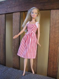 Vintage Barbie Doll Dress Tutorial (follow link to pdf inc printable pattern)