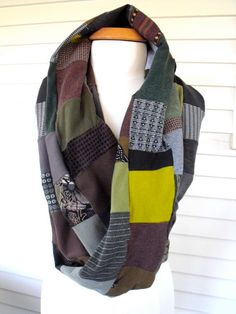 Upcycled, green mix, patchwork, infinity tube, Eco SCARF, repurposed tee shirt knit jersey, by Zasra
