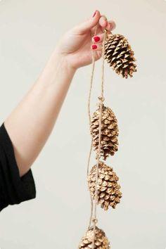 gilded pinecone garland