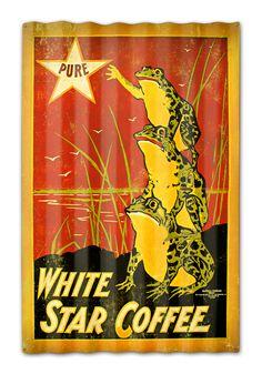 10e0c2259ffa White Star Coffee Corrugated Rustic Metal and Barn Wood Sign 16 x 24 Inches