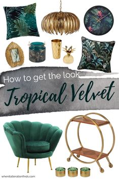 Green and gold living room | Tropical velvet luxury home decor ideas | When It Alteration Finds