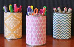 Llaunes transformades en pots de llapis