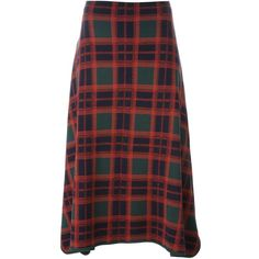 Cédric Charlier tartan skirt ($1,245) ❤ liked on Polyvore featuring skirts, red, print skirt, red plaid skirts, tartan plaid skirt, red tartan skirts and patterned skirts