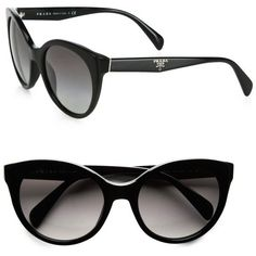 Prada Oversized Cat's-Eye Sunglasses ($245) ❤ liked on Polyvore - Sale! Up to 75% OFF! Shop at Stylizio for women's and men's designer handbags, luxury sunglasses, watches, jewelry, purses, wallets, clothes, underwear & more!