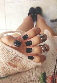 Black nails + jewel stone