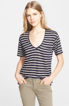 Burberry Women's Brit Stripe V Neck Top | Clothing