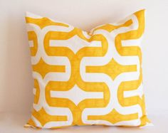 Items similar to Scallops Pillow Cushion Cover 14 x 14 - Mustard Yellow and Grey Felt Applique on Etsy