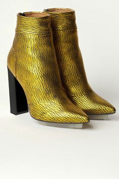 Philip Lim.. ankle boots. mustard. texture. shoes. via refinery 29