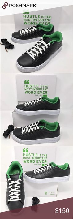 KSwiss Gary V Vaynerchuk 002 Court Frasco Sneakers KSwiss with Gary Vee (Vaynerchuk)  002  Court Frasco  Fashion Sneakers  Women's LE Size 7 Black and Kelly Green New, in box K-Swiss Shoes Sneakers