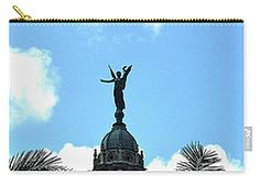 Carry-all Pouch featuring the digital art Cuba Rooftop W Protection Statue by Francesca Mackenney Pouches, Rooftop, Cuba, Statue Of Liberty, Carry On, Digital Art, Statue Of Liberty Facts, Hand Luggage, Statue Of Libery