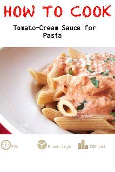 Tomato-Cream Sauce for Pasta recipe Side Dish Recipes, Yummy Recipes, Side Dishes, Yummy Food, Pasta Sauce Recipes, Pasta Sauces, Cream Sauce Pasta, Cooking Tomatoes, Tomato Cream Sauces