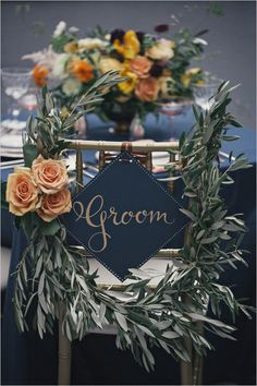Beautiful idea for decorating the bride and groom reception chairs | Full Aperture: A Floral Design Studio