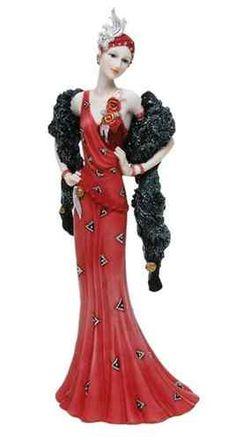Art Deco Flapper Red Dress Lady Figurine.