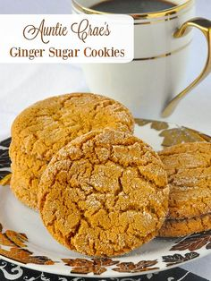 Auntie Crae\'s Ginger Sugar Cookies. These are sort of a less intense ginger cookie but their flavour and texture is still excellent and they are still very, very addictive to ginger lovers.