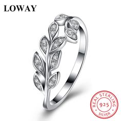 Silver Sterling Rings Leaf Shape Rings with AAA Cubic Zirconia size 8 //Price: $22.95 & FREE Shipping //     #925sterlingsilver