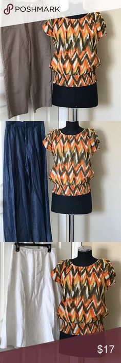 Michael Michael KORS top PM Armpit to armpit 21 inches. Made to fit loose light elastic neckline orange brown mustard yellow and off-white perfect for The end of summer and the fall! EUC! MICHAEL Michael Kors Tops