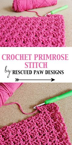 Crochet Primrose Stitch Tutorial pattern by Rescued Paw Designs. Makes a great DIY blanket for the home! The crochet primrose stitch tutorial is a relatively easy stitch to learn and perfect for beginners! The primrose crochet pattern is FREE & Easy! Crochet Diy, Crochet Motifs, Crochet Stitches Patterns, Knit Or Crochet, Crochet Crafts, Crochet Projects, Crotchet, Crochet Tutorials, Crochet Designs